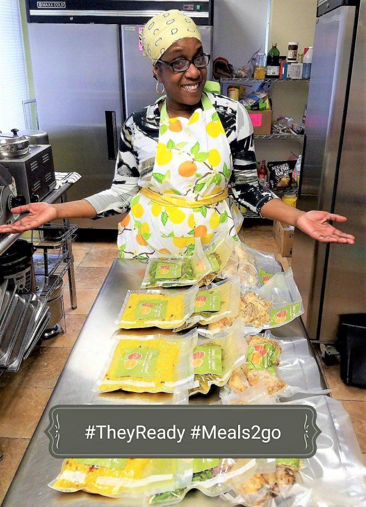 Lisa Heidelberg showing her meal preparation skills